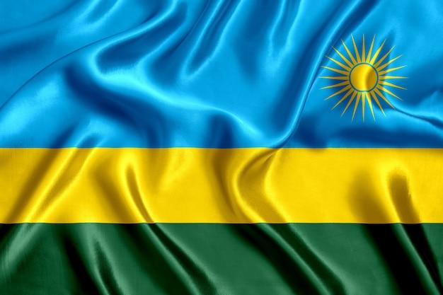Close-up de seda da bandeira de ruanda