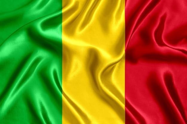 Close-up de seda da bandeira do mali