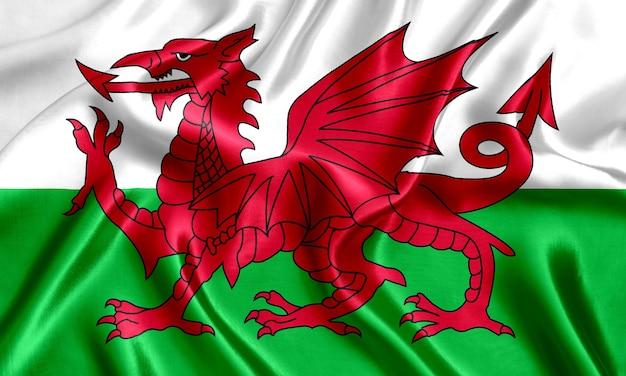 Close-up de seda da bandeira do país de gales