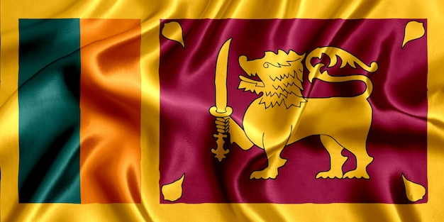 Close-up de seda da bandeira do sri lanka