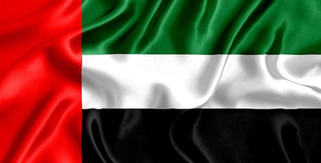Close-up de seda da bandeira dos emirados árabes unidos