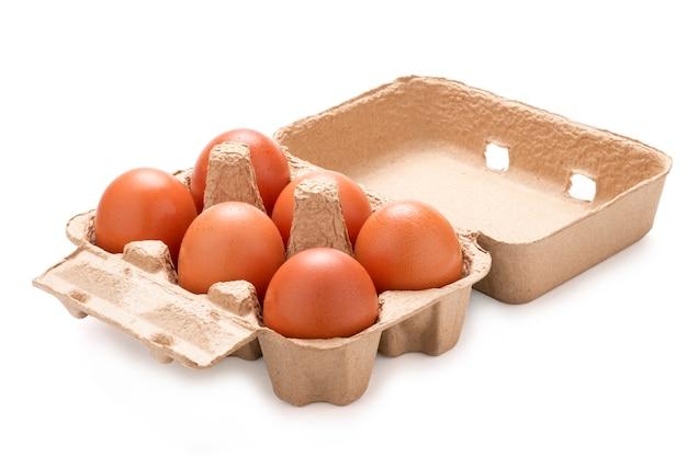 Close-up de seis ovos frescos da galinha em uma bandeja em um fundo branco. isolado com a foto do trajeto de grampeamento.