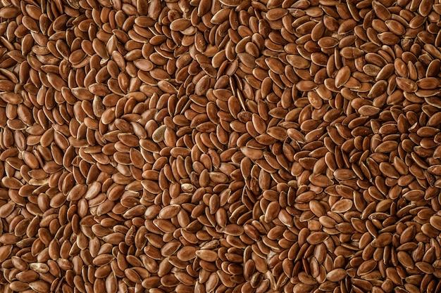 Close up de sementes de linho, superalimentos com alto ácido graxo essencial ômega 3