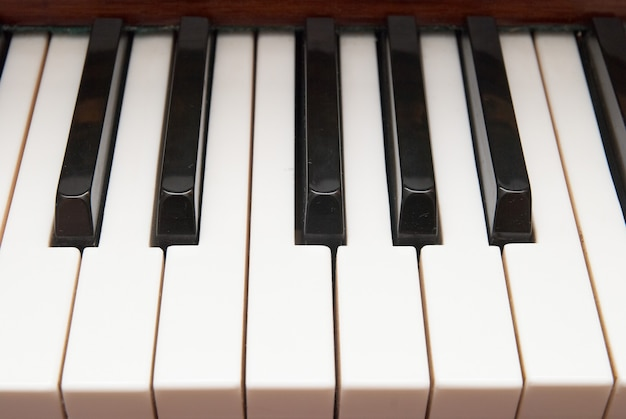 Close up de teclas de piano em preto e branco