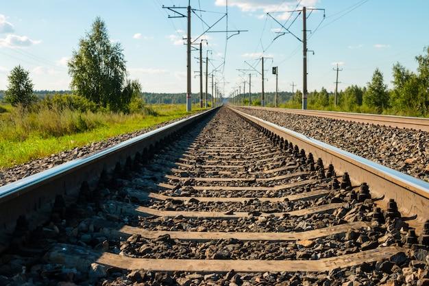 Close-up de trilhos de trem