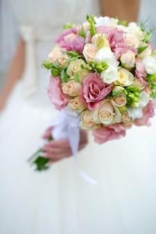 Close-up de um buquê de casamento