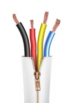 Close up de um cabo elétrico