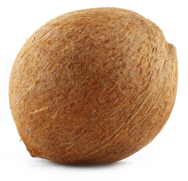 Close up de um coco sobre fundo branco