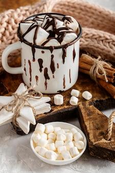 Close-up de um delicioso chocolate quente