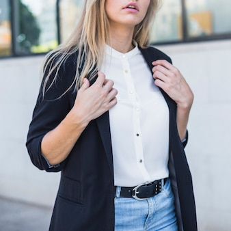 Close-up, de, um, executiva, desgastar, blazer