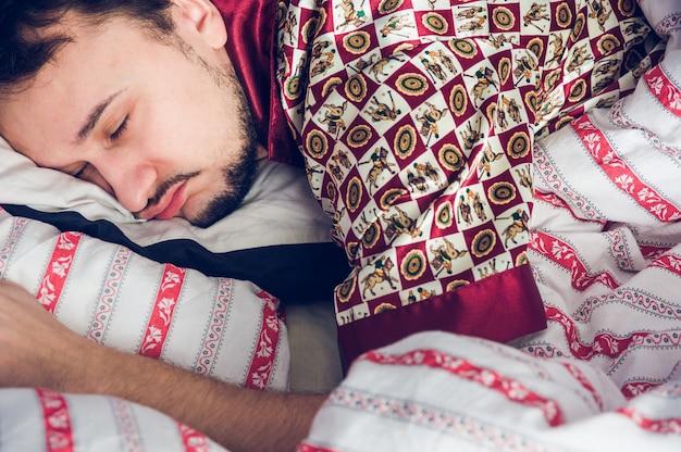 Close-up, de, um, homem adormecido