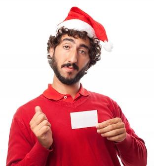 Close-up de um homem com um cartão em branco