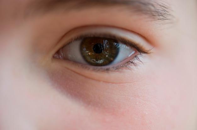 Close-up, de, um, menina, olho