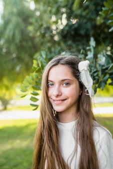 Close-up, de, um, menina sorridente