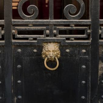 Close-up, de, um, metal, portão, e, doorknocker, valparaiso, chile