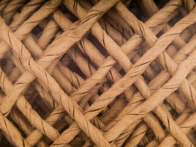 Close up de uma bola de textura de cordas
