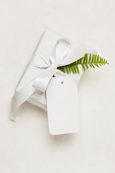 Close-up de uma caixa de presente; tag vazia e folha verde, isolado no fundo branco