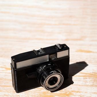 Close-up de uma câmera fotográfica retrô