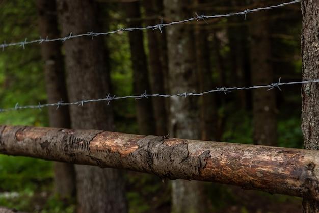 Close-up de uma cerca de arame farpado enferrujado