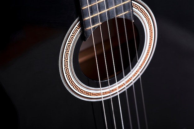 Close up de uma guitarra