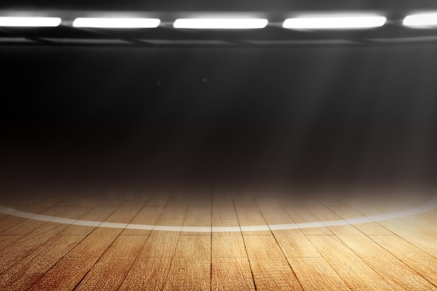 Close-up de uma quadra de basquete com piso de madeira e holofotes