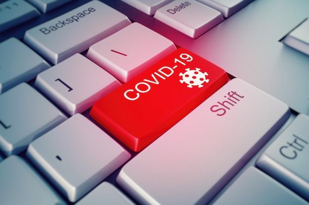 Close-up de uma tecla do teclado a ser pressionada no caso de um alarme covid-19