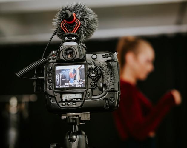 Close-up de uma tela de câmera de vídeo digital