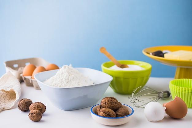 Close-up, de, vários, assando ingredientes, ligado, tabela