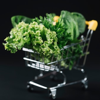Close-up de vegetais de folhas verdes no carrinho de compras sobre o pano de fundo preto