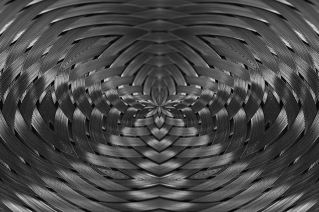 Close-up de vime metálico de prata simétrico da textura.