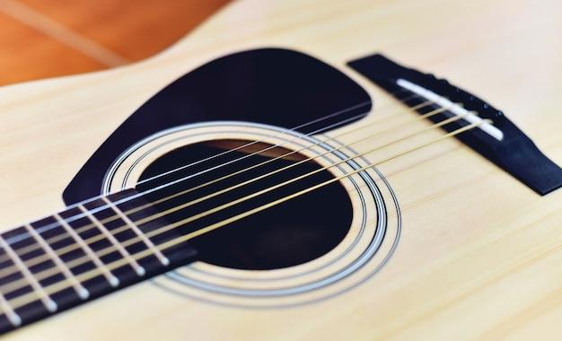 Close-up de violão musical instrumento tom vintage estilo clássico