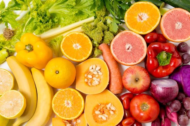 Close-up deliciosos legumes e frutas