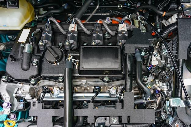 Close-up detalhes do novo motor de carro