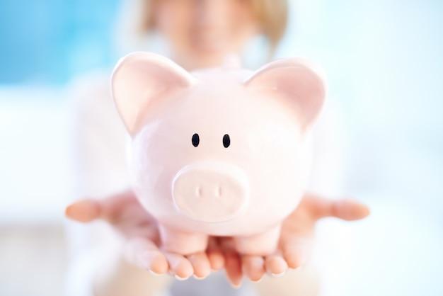 Close-up do banco piggy