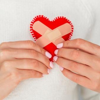 Close-up do conceito de coração fixo
