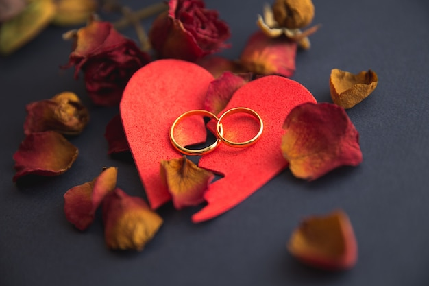 Close-up do conceito de divórcio com anel de casamento e martelo