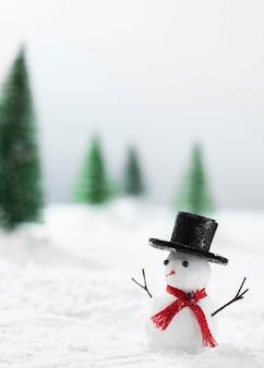 Close-up do conceito de inverno do boneco de neve