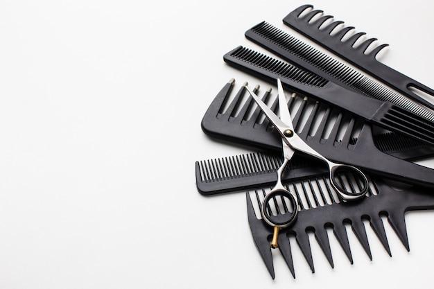 Close-up do conjunto de pente de cabelo