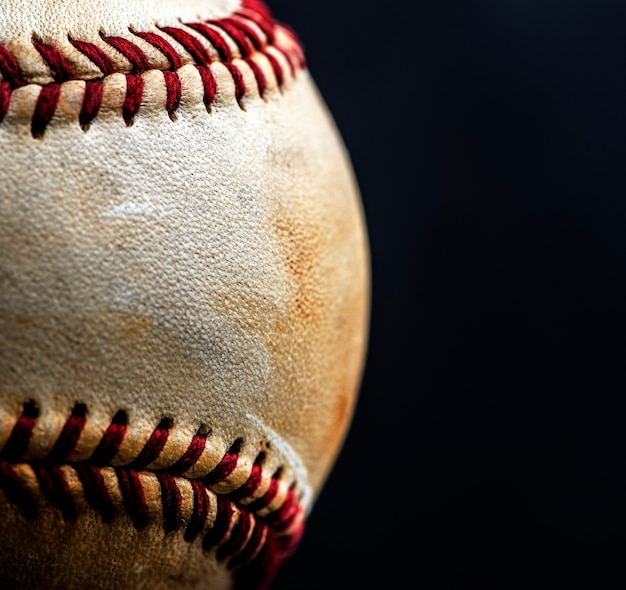 Close up do equipamento de esporte de bola de beisebol marrom