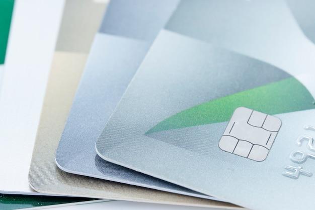 Close-up do fundo do cartão de crédito.