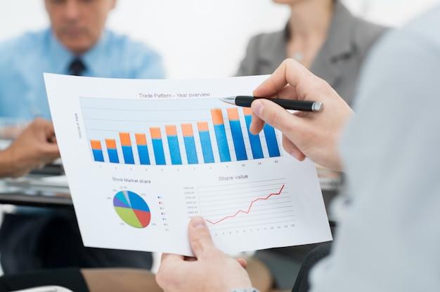 Close-up do gráfico de negócios