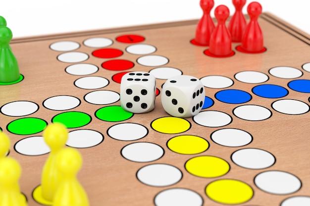 Close up do jogo de mesa de madeira da mesa do ludo da família em um fundo branco. renderização 3d
