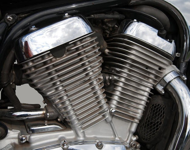 Close up do motor de motocicleta