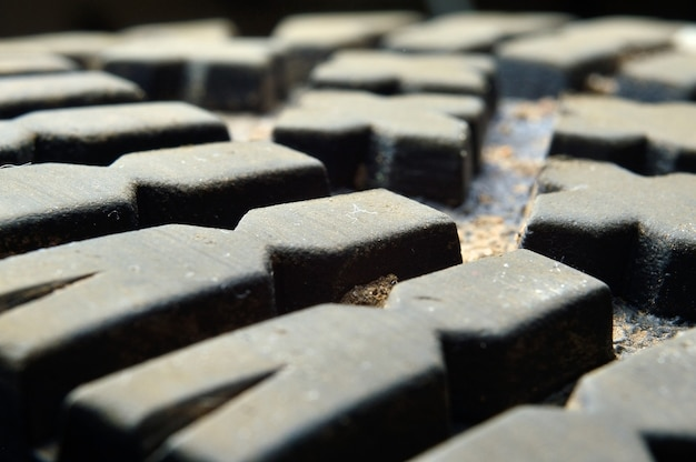 Close up do piso da bota sujo e sujo.