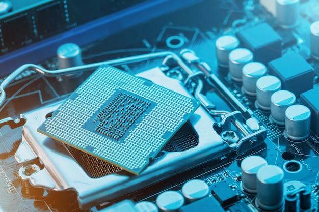Close up do processador da microplaqueta do processador central