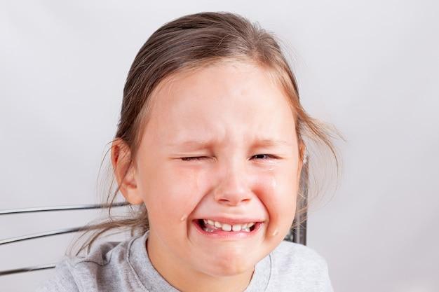 Close-up do rosto da menina em lágrimas, a criança está chateada e chorando em uma parede cinza, isolada