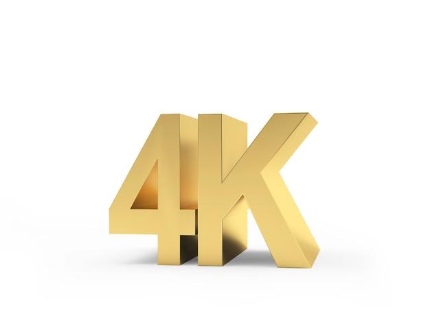 Close-up do sinal dourado da tecnologia 4k