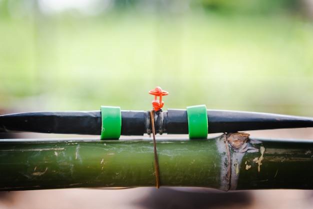 Close-up do sistema de irrigação por gotejamento. sistema de irrigação por gotejamento com economia de água sendo usado na fazenda.