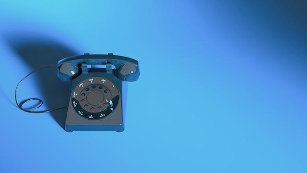 Close-up do telefone fixo com iluminação de néon azul, ilustração 3d
