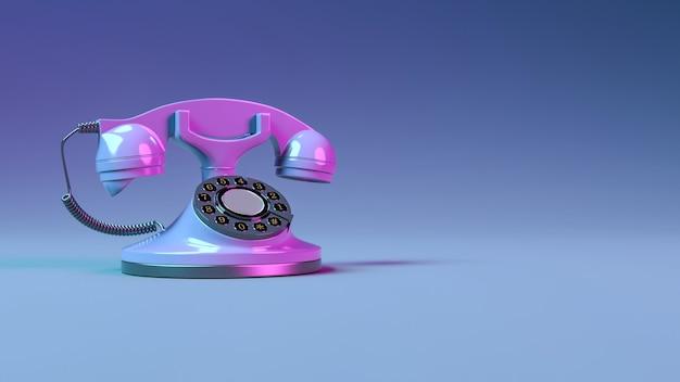 Close-up do telefone fixo com iluminação roxa de néon, ilustração 3d